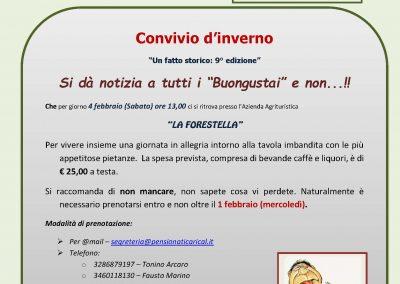 """Convivio d'Inverno presso """"La FORESTELLA"""" 4 feb 2017"""